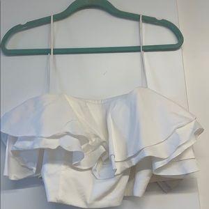 Zara white crop top sz small